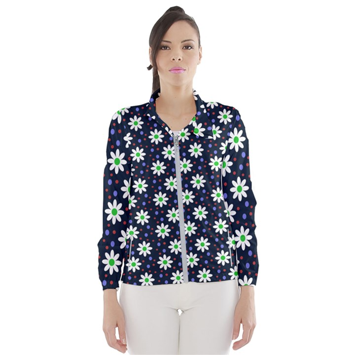Daisy Dots Navy Blue Wind Breaker (Women)