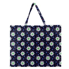 Daisy Dots Navy Blue Zipper Large Tote Bag