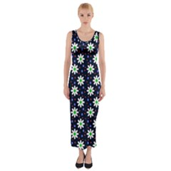 Daisy Dots Navy Blue Fitted Maxi Dress
