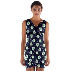 Daisy Dots Navy Blue Wrap Front Bodycon Dress