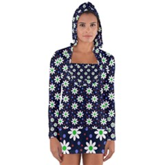 Daisy Dots Navy Blue Long Sleeve Hooded T Shirt