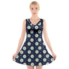 Daisy Dots Navy Blue V Neck Sleeveless Skater Dress
