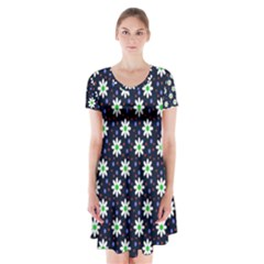 Daisy Dots Navy Blue Short Sleeve V Neck Flare Dress
