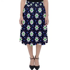Daisy Dots Navy Blue Folding Skater Skirt