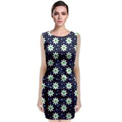 Daisy Dots Navy Blue Classic Sleeveless Midi Dress