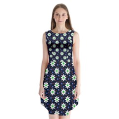 Daisy Dots Navy Blue Sleeveless Chiffon Dress