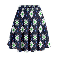 Daisy Dots Navy Blue High Waist Skirt