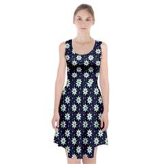 Daisy Dots Navy Blue Racerback Midi Dress