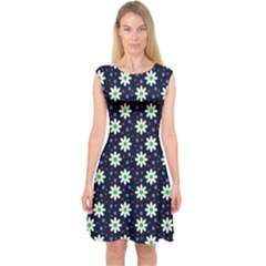 Daisy Dots Navy Blue Capsleeve Midi Dress