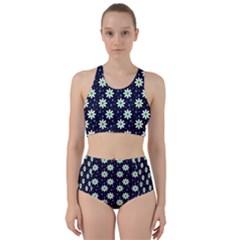 Daisy Dots Navy Blue Racer Back Bikini Set