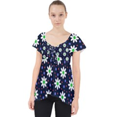 Daisy Dots Navy Blue Lace Front Dolly Top