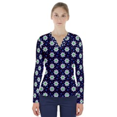 Daisy Dots Navy Blue V Neck Long Sleeve Top