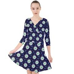Daisy Dots Navy Blue Quarter Sleeve Front Wrap Dress