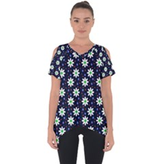Daisy Dots Navy Blue Cut Out Side Drop Tee