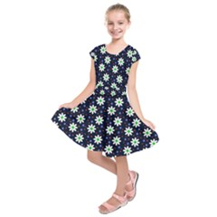 Daisy Dots Navy Blue Kids  Short Sleeve Dress
