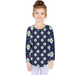 Daisy Dots Navy Blue Kids  Long Sleeve Tee