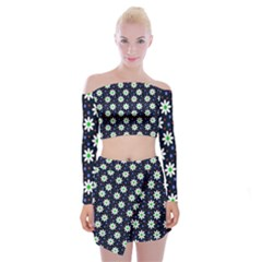 Daisy Dots Navy Blue Off Shoulder Top With Mini Skirt Set