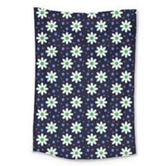 Daisy Dots Navy Blue Large Tapestry