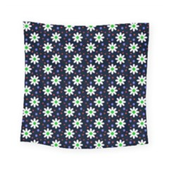 Daisy Dots Navy Blue Square Tapestry (small)