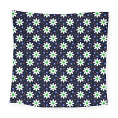 Daisy Dots Navy Blue Square Tapestry (large)