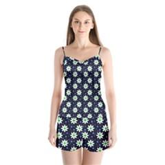 Daisy Dots Navy Blue Satin Pajamas Set
