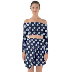 Daisy Dots Navy Blue Off Shoulder Top With Skirt Set