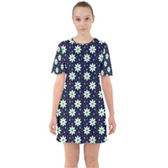 Daisy Dots Navy Blue Sixties Short Sleeve Mini Dress