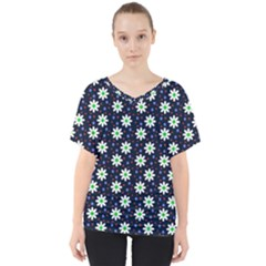 Daisy Dots Navy Blue V Neck Dolman Drape Top