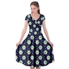 Daisy Dots Navy Blue Cap Sleeve Wrap Front Dress