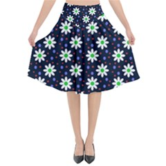 Daisy Dots Navy Blue Flared Midi Skirt