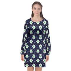 Daisy Dots Navy Blue Long Sleeve Chiffon Shift Dress