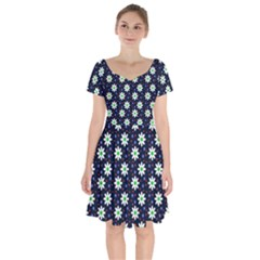 Daisy Dots Navy Blue Short Sleeve Bardot Dress