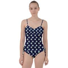 Daisy Dots Navy Blue Sweetheart Tankini Set