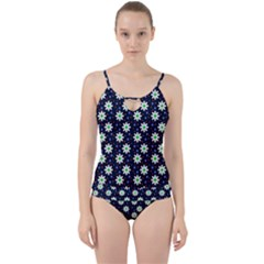 Daisy Dots Navy Blue Cut Out Top Tankini Set