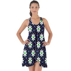 Daisy Dots Navy Blue Show Some Back Chiffon Dress