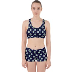Daisy Dots Navy Blue Work It Out Sports Bra Set