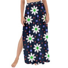Daisy Dots Navy Blue Maxi Chiffon Tie Up Sarong