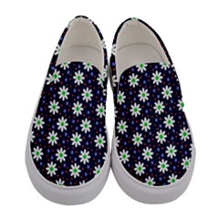 Daisy Dots Navy Blue Women s Canvas Slip Ons