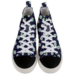 Daisy Dots Navy Blue Men s Mid Top Canvas Sneakers