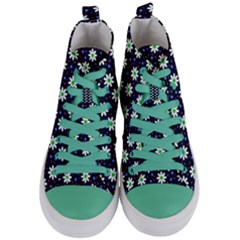Daisy Dots Navy Blue Women s Mid Top Canvas Sneakers