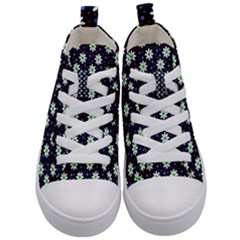 Daisy Dots Navy Blue Kid s Mid Top Canvas Sneakers
