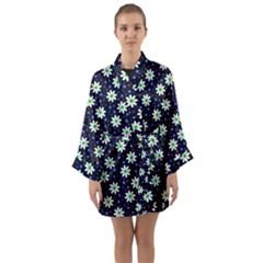 Daisy Dots Navy Blue Long Sleeve Kimono Robe