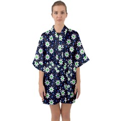 Daisy Dots Navy Blue Quarter Sleeve Kimono Robe