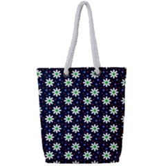 Daisy Dots Navy Blue Full Print Rope Handle Tote (small)