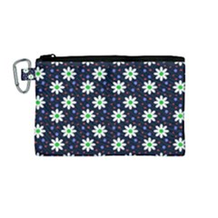 Daisy Dots Navy Blue Canvas Cosmetic Bag (medium)