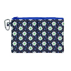 Daisy Dots Navy Blue Canvas Cosmetic Bag (large)