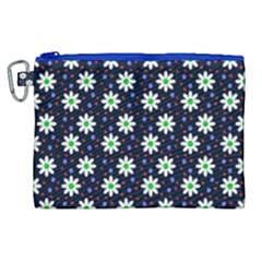 Daisy Dots Navy Blue Canvas Cosmetic Bag (xl)