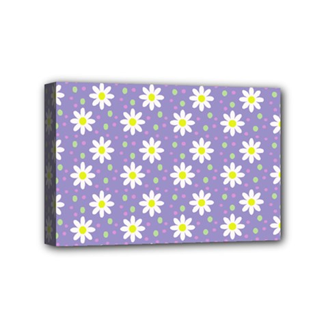 Daisy Dots Violet Mini Canvas 6  X 4
