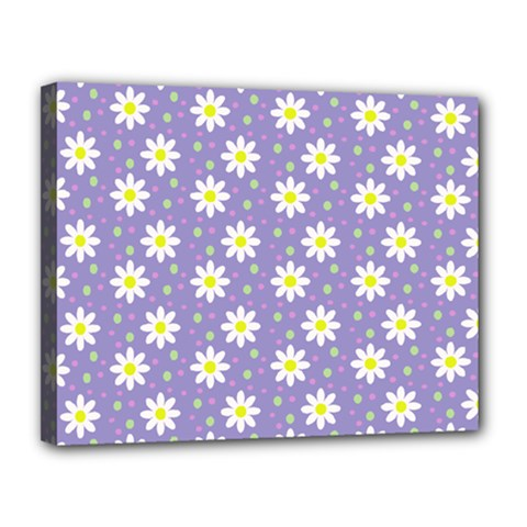 Daisy Dots Violet Canvas 14  X 11