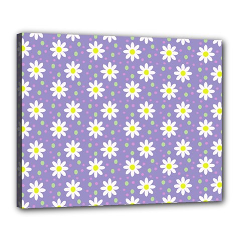 Daisy Dots Violet Canvas 20  X 16